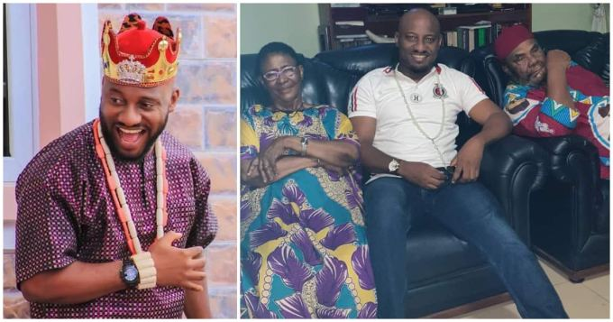 Yul Edochie pays visit to his veteran actor father Pete Edochie and mum