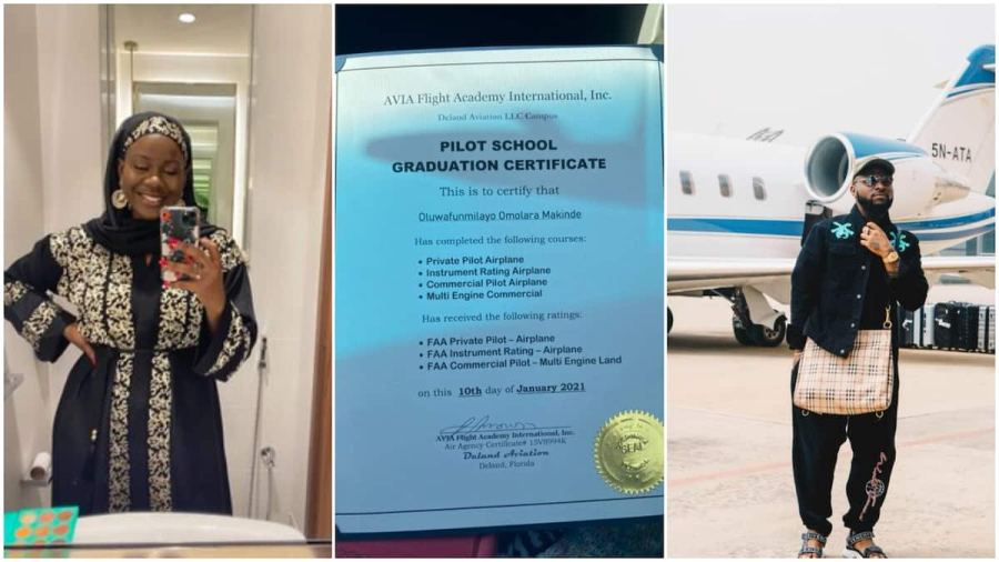Nigerian lady begs Davido to employ her as his pilot, shows off license certificate, stirs reactions