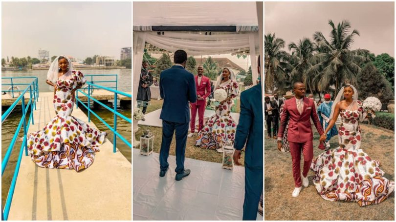 Check out the ankara-style wedding gown this woman wore during her marriage ceremony