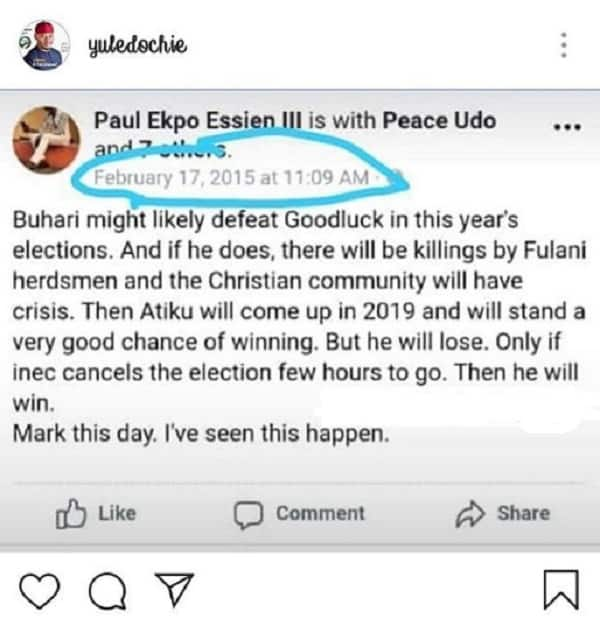 Yul Edochie in search of Nigerian man who predicted PMB's win, winner of 2019 elections in 2015