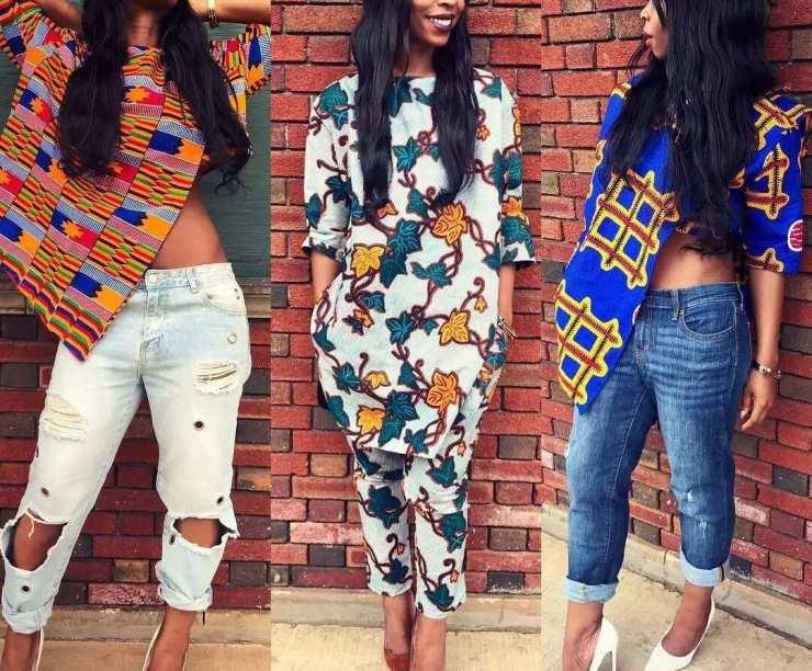 Ankara blouses on jeans: Asymmetric