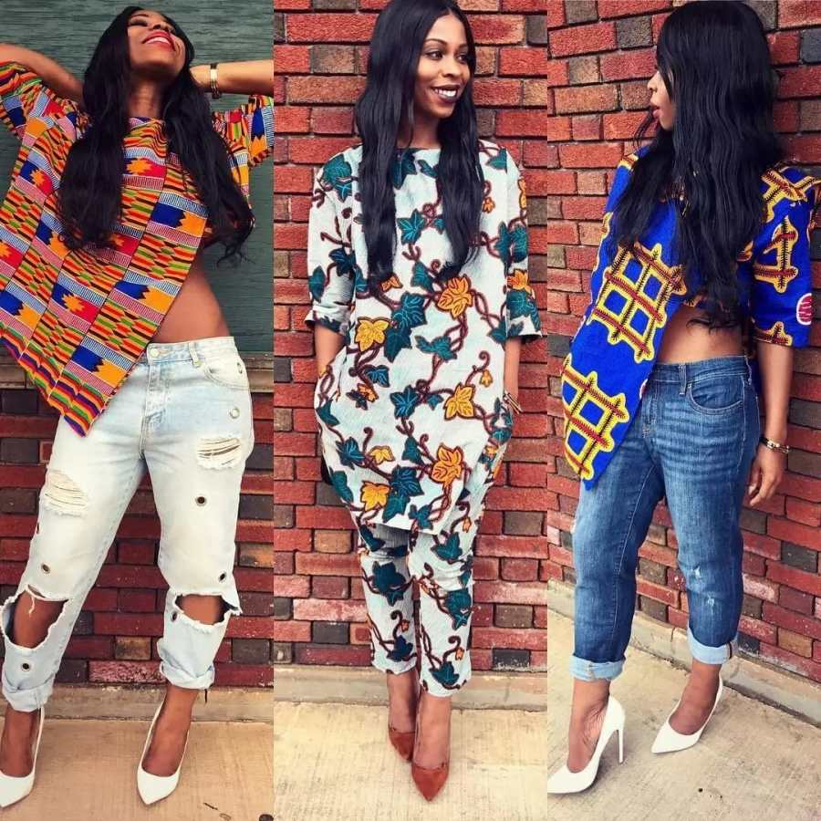 Ankara blouses on jeans: Asymmetric