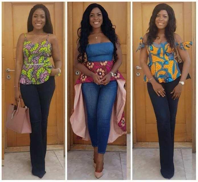 Ankara blouses on jeans: Gorgeous Linda Ikeji