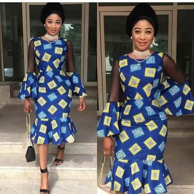Fashion in Nigerian traditional styles - Ankara and black lace