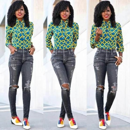 Ankara jeans with top