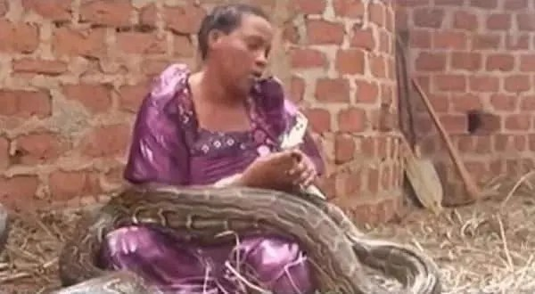Wawu! Woman who gave birth to a girl and a python refuses to let go of the snake