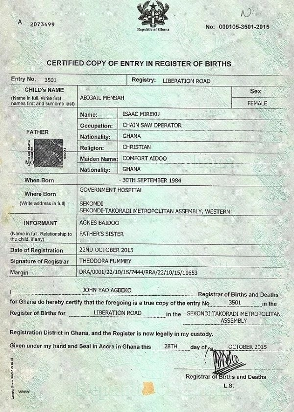 Biometric birth certificate in Ghana