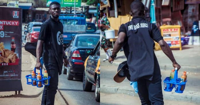 Dennis Appiah Larbi: Former SRC President of UCC Takes to the Street to sell Fruit Juice