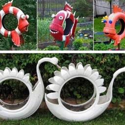 Kreative Gartenideen aus alten Reifen   nettetippsde