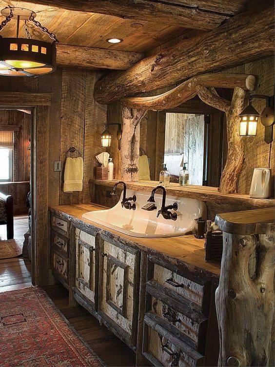 Interessante Ideen fr rustikale Badezimmer aus Holz und Naturstein  nettetippsde