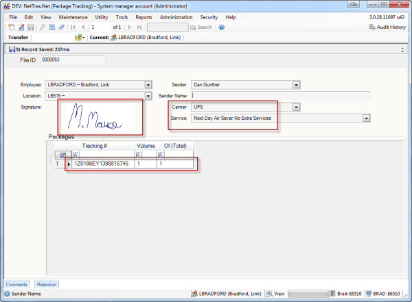 Package Tracking Application - This application is used to track incoming packages. Notice the recipient signature is stored along with the carrier and the service type.