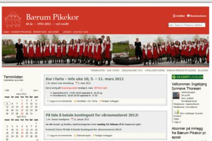 Bærum Pikekor forside 2009-2011