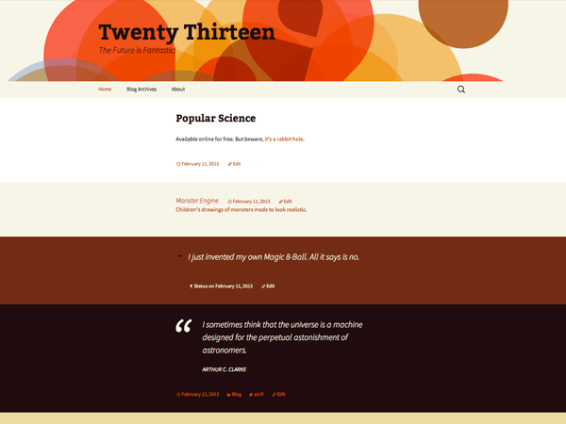 Twenty Thirteen standardtema fra WordPress