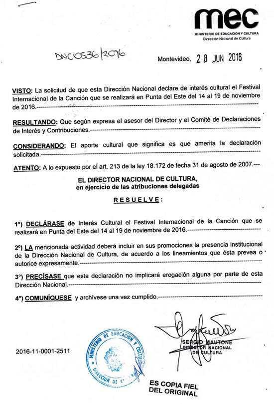 El Festival Internacional de la Canción, Punta del Este 2016 ha sido Declarado de Interés Cultural