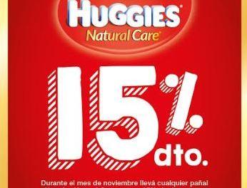 Pañales Huggies Natural Care con 15% de descuento durante el mes de noviembre