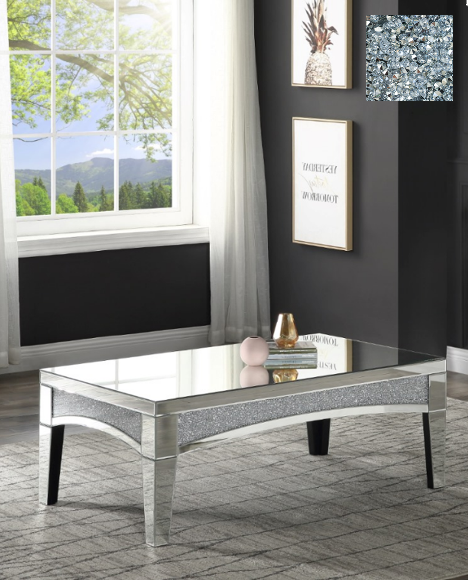 coffee table curved edge mirrored