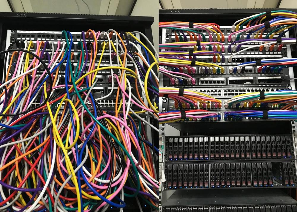medium resolution of data cabinet tidy colour coded cables