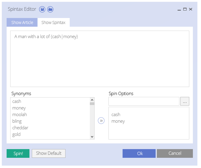 The Spintax Editor in UBot Studio 5