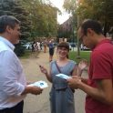 Network 49 co-chair distributes Network 49 questionnaires ahead of 49th ward event with Democratic candidate JB Pritzker.