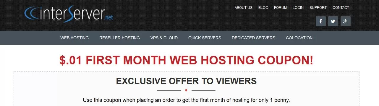 InterServer is the best web host in terms of price