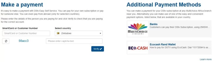 Make an online DSTV payment
