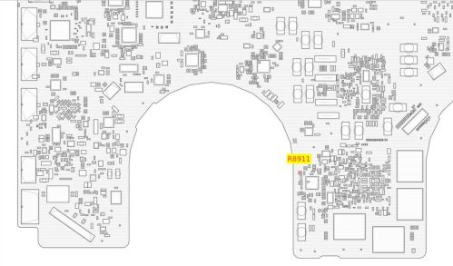 small resolution of i found a diagram of my logic board the clearly identifies the location of resistor r8911 and popped the bottom cover off my laptop