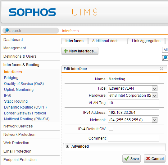 Sophos UTM VLAN Interfaces & Routing on a stick (1/6)
