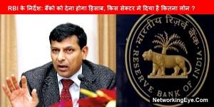 RBI के निर्देश बैंको को देना होगा हिसाब किस सेक्टर मे दिया है कितना लोन