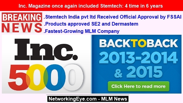 Inc Magazine once again included Stemtech 4 time in 6 years