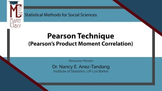 Pearson Technique (Pearson's Product Moment Correlation) | Dr. Nancy E. Añez-Tandang