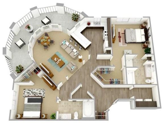 3D rendered floor plans