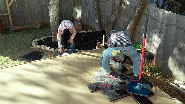 stamped concrete patio was a fast track