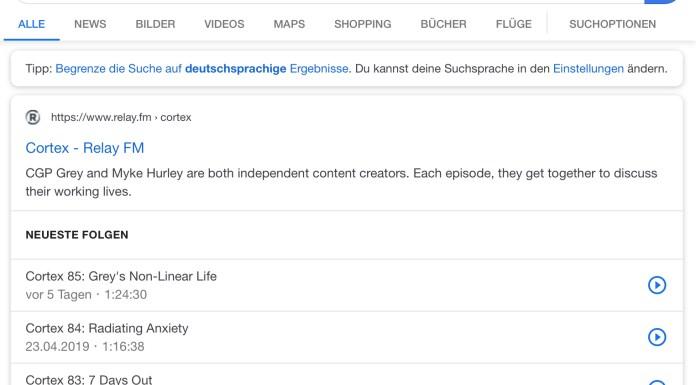 Google Podcast Suche - Ergebnisseite
