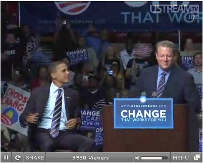 al gore endorses barack obama in michigan