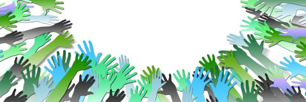The introductory picture shows raised hands symbolizing togetherness in a common thing.