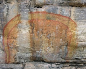 "Australian Aboriginal rock painting of ""The Rainbow Serpent"". Photo by: Mark O'Neil www.DigitalTribes.com"