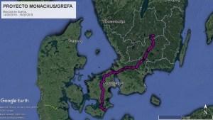 Karte von Dänemark und Südschweden, auf der der Flugweg des Mönchsgeiers über Seeland und Südschweden eingezeichnet ist
