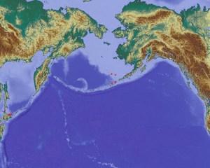 Karte des Nordpazifiks und angrenzender Länder