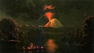 Gemälde mit einem ausbrechenden Vulkan und einem Kanu, dessen Insassen das Licht einfangen