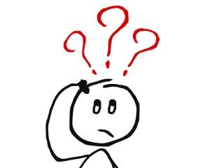 Zeichnung eines Männchens mit Fragezeichen über dem Kopf