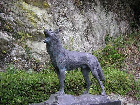 Der japanische Wolf als Statue