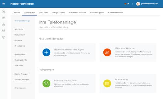 Placetel Cloud Telefonanlage Admin Bereich Einrichtung Netzwerk Schweinfurt