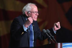 U.S. Senator Bernie Sanders bei einer Rede im Phoenix Convention Center in Arizona.