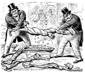 Das neue Verhältnis zwischen Arbeiter und Unternehmer. Karikatur aus dem Neuen Postillon, Zürich, Schweiz 1896.