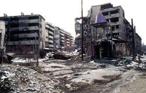 Zerstörungen in Sarajevo im Bosnienkrieg.