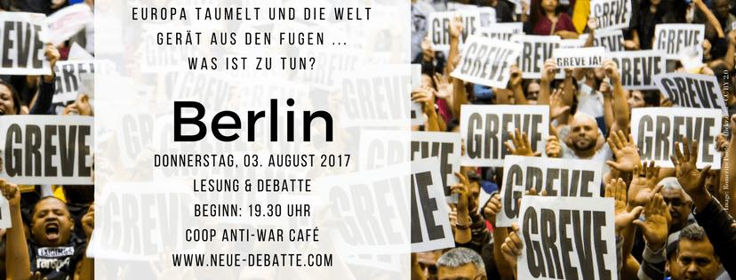Liveveranstaltung von Neue Debatte in Berlin (Coop Anti-War Café)
