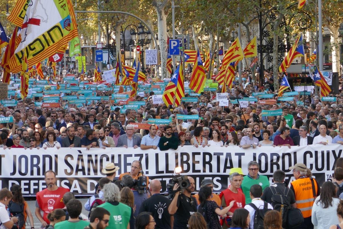 Demonstration in Barcelona am 21. Oktober 2017. (Foto: Krystyna Schreiber)