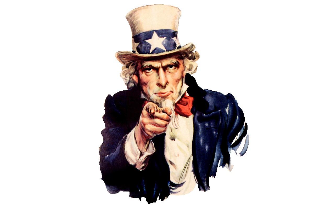 Uncle Sam ist die bekannteste Nationalallegorie der USA und eine verbreitete Werbefigur.