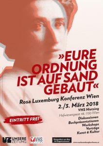 Das Plakat der Rosa Luxemburg Konferenz Wien 2018. (Foto: Unsere Zeitung)