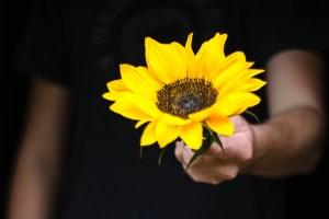 Mann reicht eine Sonnenblume. (Foto: Di Maitland, Unsplash.com)
